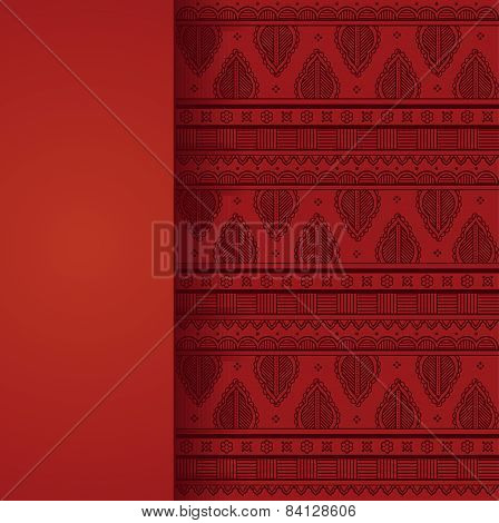 Red Indian henna background with banner