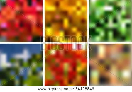 Vector Blurred Background Collection. Pack Of Unique Blurry Background
