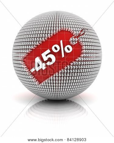 45 percent off sale tag on a sphere