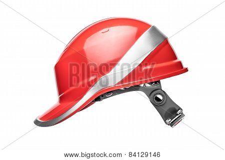 Red safety helmet