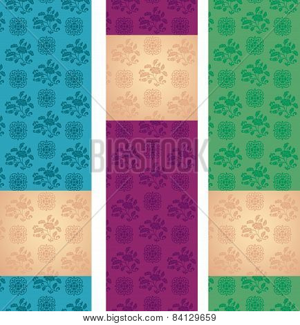 Set Of Colorful Vintage Asian Floral Pattern Vertical Banners With Space For Text