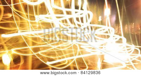 Candle Trails, Photo In Motion. Light Trails, Long Exposure Photo.
