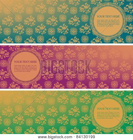 Set Of Vintage Asian Floral Pattern Horizontal Banners With Round Space For Text