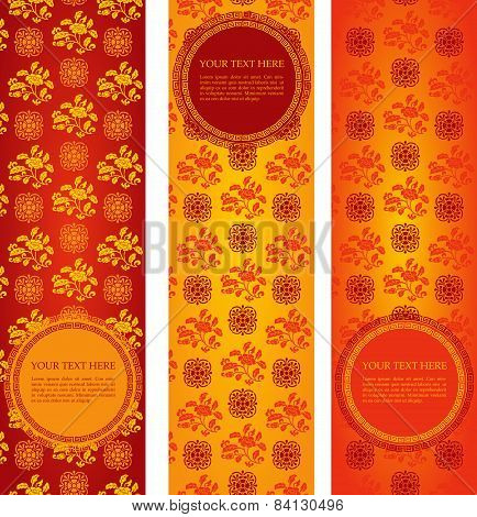 Set Of Vintage Asian Floral Pattern Vertical Banners With Round Space For Text