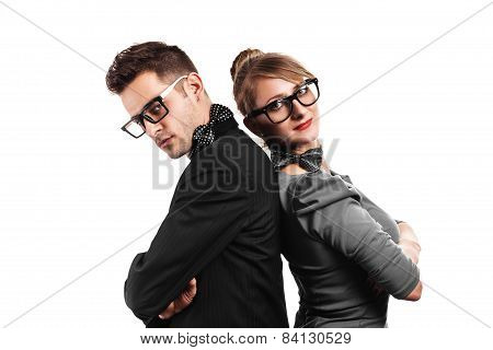 Well Dressed couple back on back