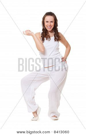 Beautiful Smiley Woman In White Clothes