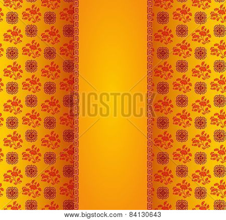 Vintage Asian Floral Pattern Background With Central Banner.eps