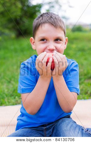 Boy Holding Red Apple By Two Hands