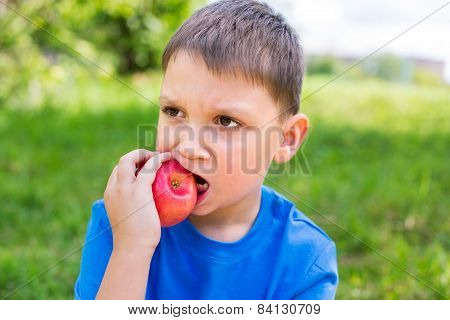 Boy Nibbling Red Apple