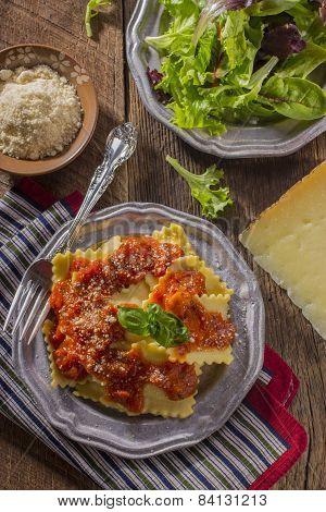 Ravioli and Salad