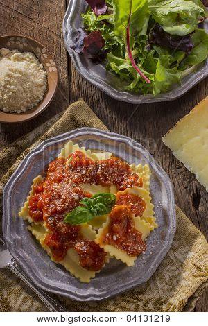 Raviolis and Salad