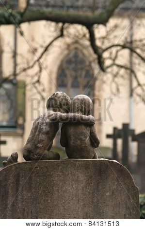 Famous Historic Vysehrad Cemetery In Prague Autumn Day