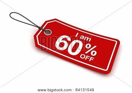 I am 60 percent off sale tag, 3d render