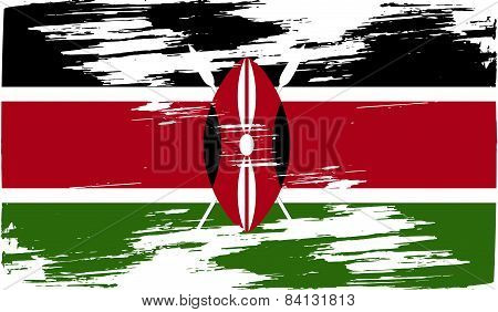 Flag Of Kenya With Old Texture. Vector