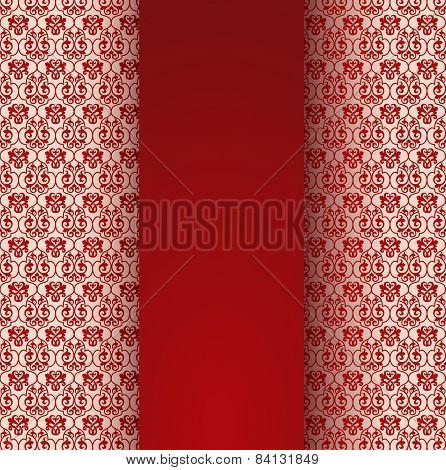 Classical red pattern background with vertical banner