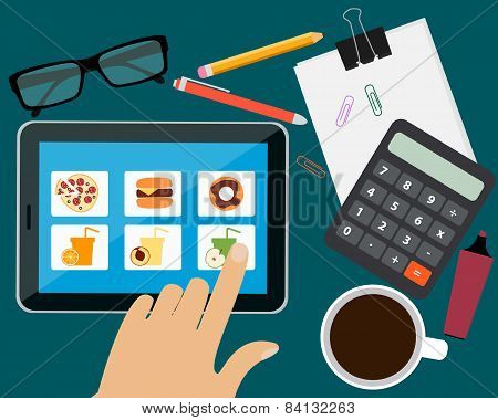 Man ordering food in the office online. Vector illustration