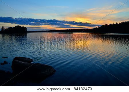 Karelian Sunset. Lake Engozero, North Karelia, Russia