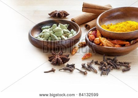 Exotic Spices, Corner Background For Indian Cooking Blurred To White
