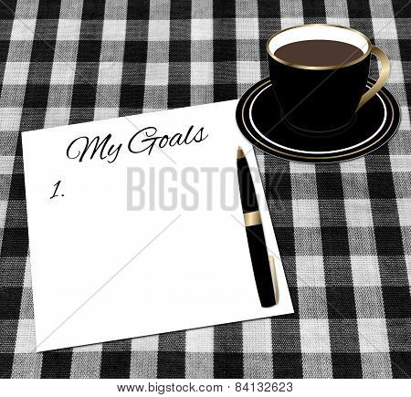 Setting Goals Paper and Cup of Coffee