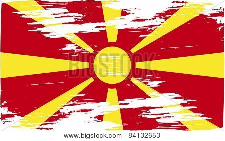 Flag Of Macedonia With Old Texture. Vector