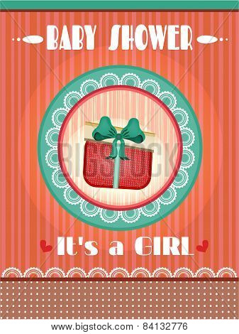 Baby shower - its a girl, striped background, text, retro style