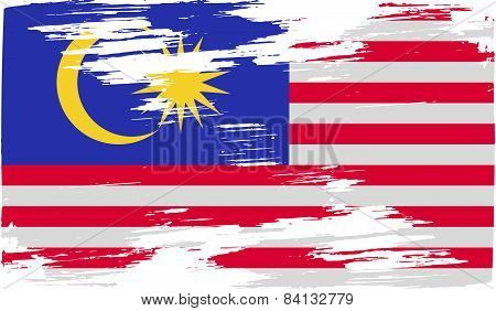 Flag Of Malaysia With Old Texture. Vector