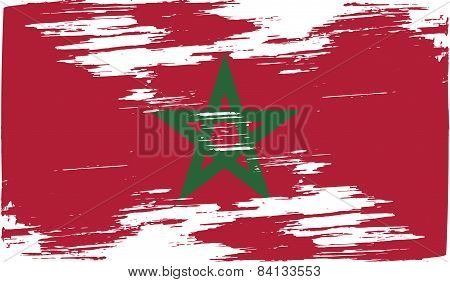 Flag Of Morocco With Old Texture. Vector