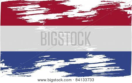 Flag Of Netherlands With Old Texture. Vector