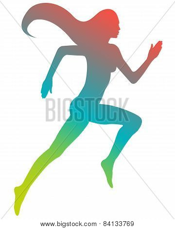 Colored silhouette running girl with long hair. Vector illustration