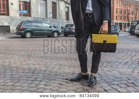 Detail Of Bag Outside Alberto Zambelli Fashion Show Building For Milan Women's Fashion Week 2015
