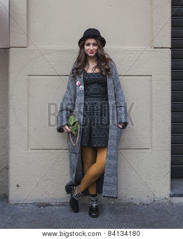 Young Woman Outside Alberto Zambelli Fashion Show Building For Milan Women's Fashion Week 2015
