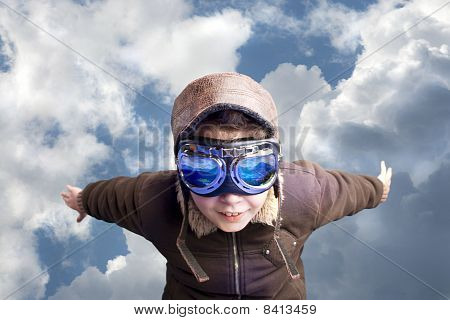 Boy Flying, Daydreaming He´s A Pilot