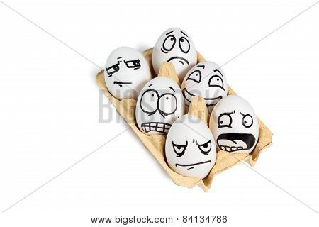 Group of eggs with painted smiley