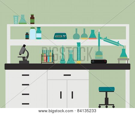 Interior chemical laboratory with equipment. Vector illustration