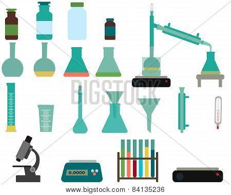 Set of laboratory equipment. Vector illustration