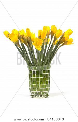 Bouquet Of Yellow Lent Lily (daffodil) Isolated On White Background