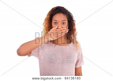 Young African American Covering Her Mouth With Her Hand Palm Isolated On White Background - Black Pe