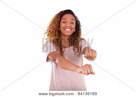 Happy Young African American Dancing  Isolated On White Background - Black People