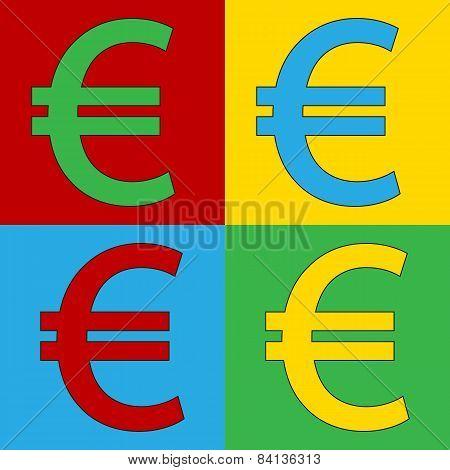 Pop Art Euro Symbol Icons.