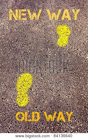 Yellow Footsteps On Sidewalk From Old Way To New Way Messages.evolution Concept Image