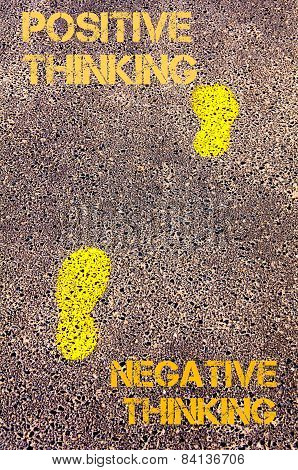 Yellow Footsteps On Sidewalk From Negative Thinking To Positive Thinking Message. Concept Image