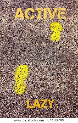 Yellow Footsteps On Sidewalk From Lazy To Active Message. Concept Image