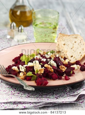 Beetroot Salad With Blue Cheese And Walnuts