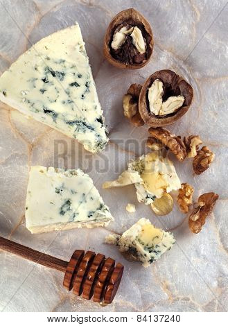 Blue Cheese With Honey And Walnuts.