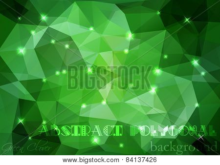 Abstract Polygonal Background Vector Art In Green Tones With Sparkles