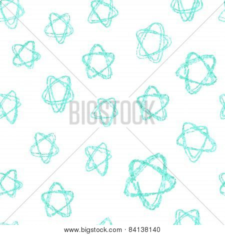 Seamless vector pattern - azure stars (hand drawn with watercolor pencil)