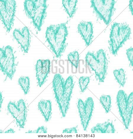 Seamless vector pattern - azure hearts (hand drawn with watercolor pencil)