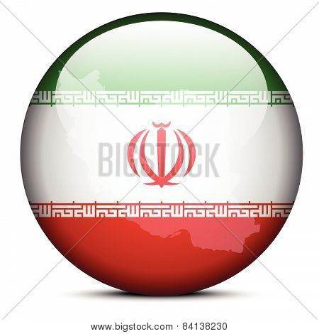 Map On Flag Button Of Iran
