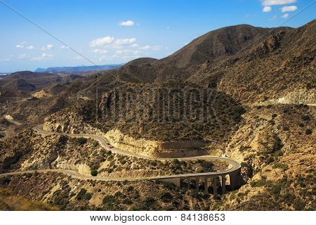 Andalusia, Landscape. Road In Cabo De Gata Park, Almeria. Spain