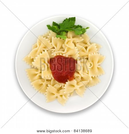Pasta Farfalle With Tomato On Plate. Isolated On White Background. Top View.